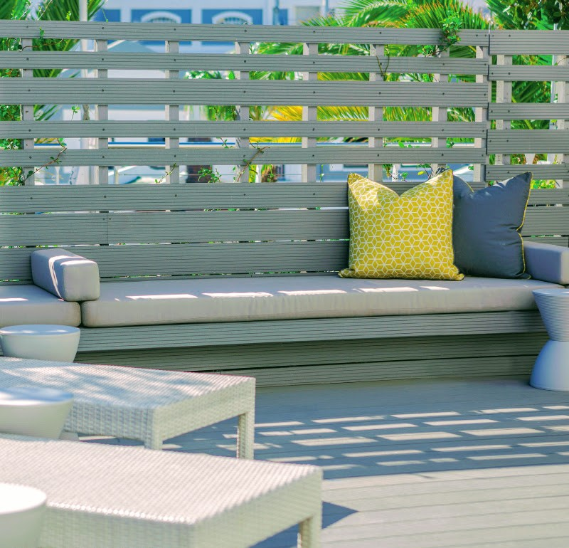 Composite decking for entertainment areas and is easy to clean